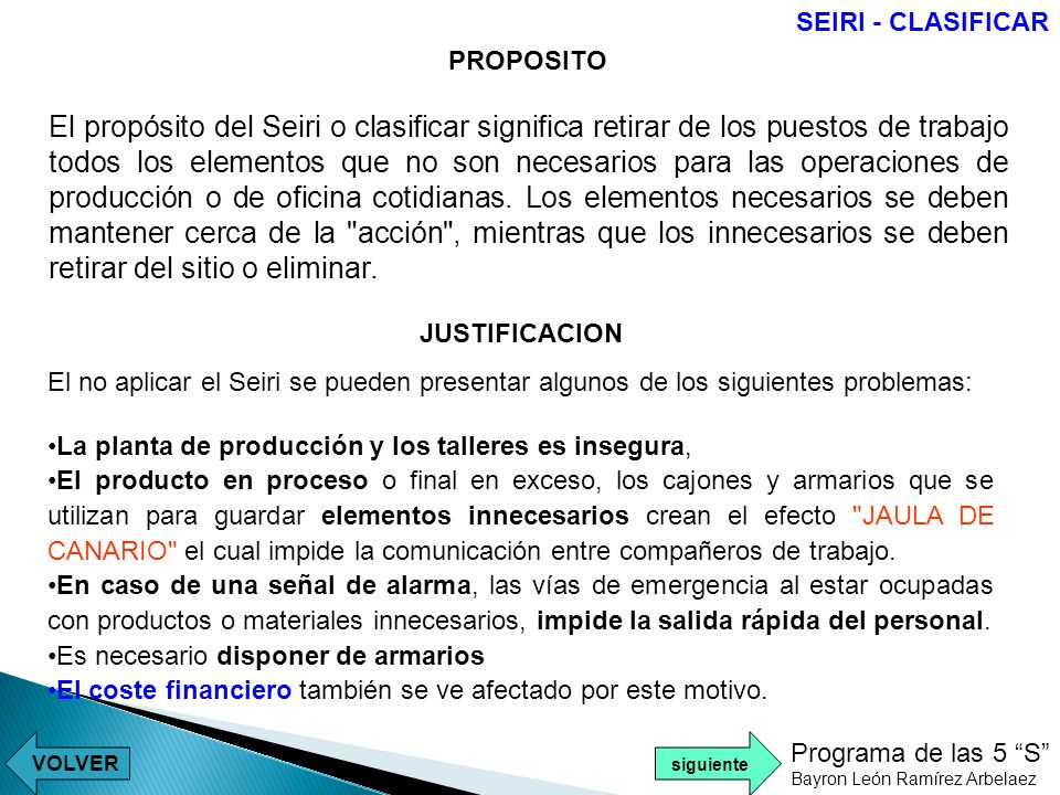 SEIRI - CLASIFICAR PROPOSITO.