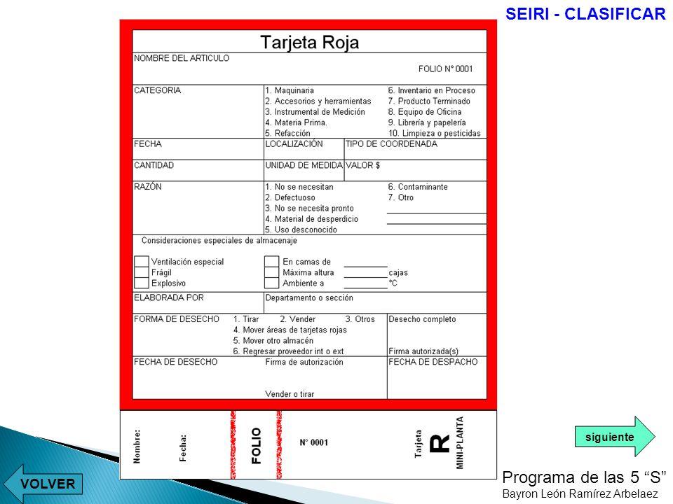 SEIRI - CLASIFICAR Programa de las 5 S VOLVER siguiente