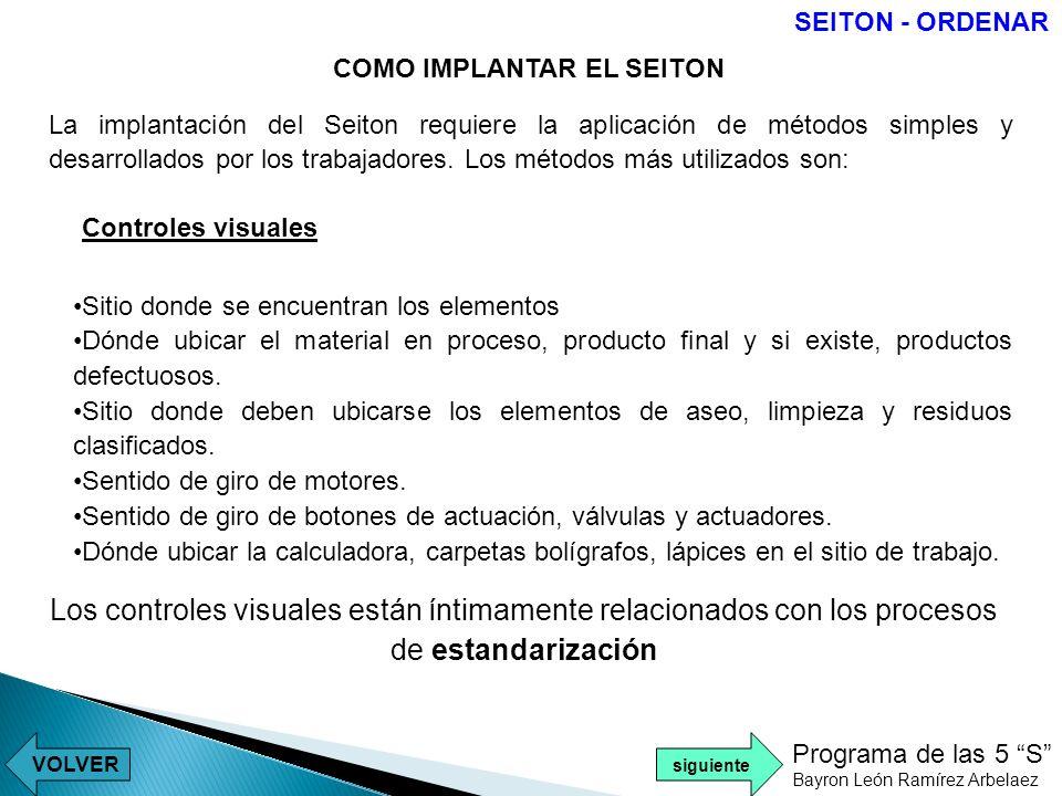 SEITON - ORDENAR COMO IMPLANTAR EL SEITON.