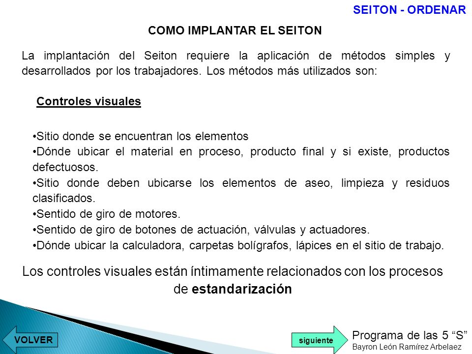 SEITON - ORDENARCOMO IMPLANTAR EL SEITON.