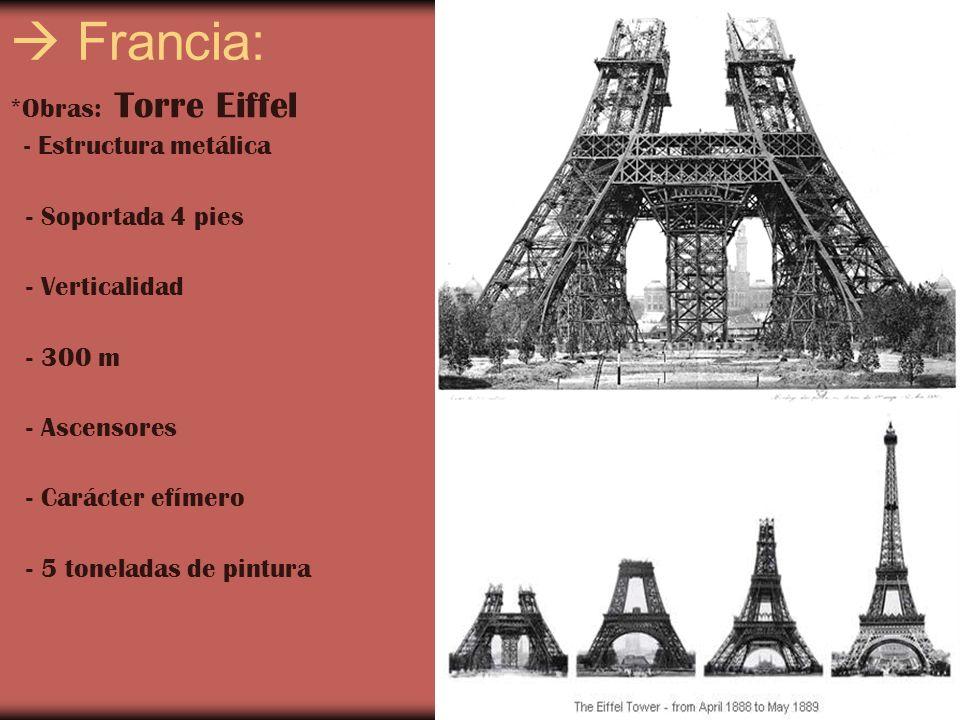  Francia: *Obras: Torre Eiffel - Soportada 4 pies - Verticalidad