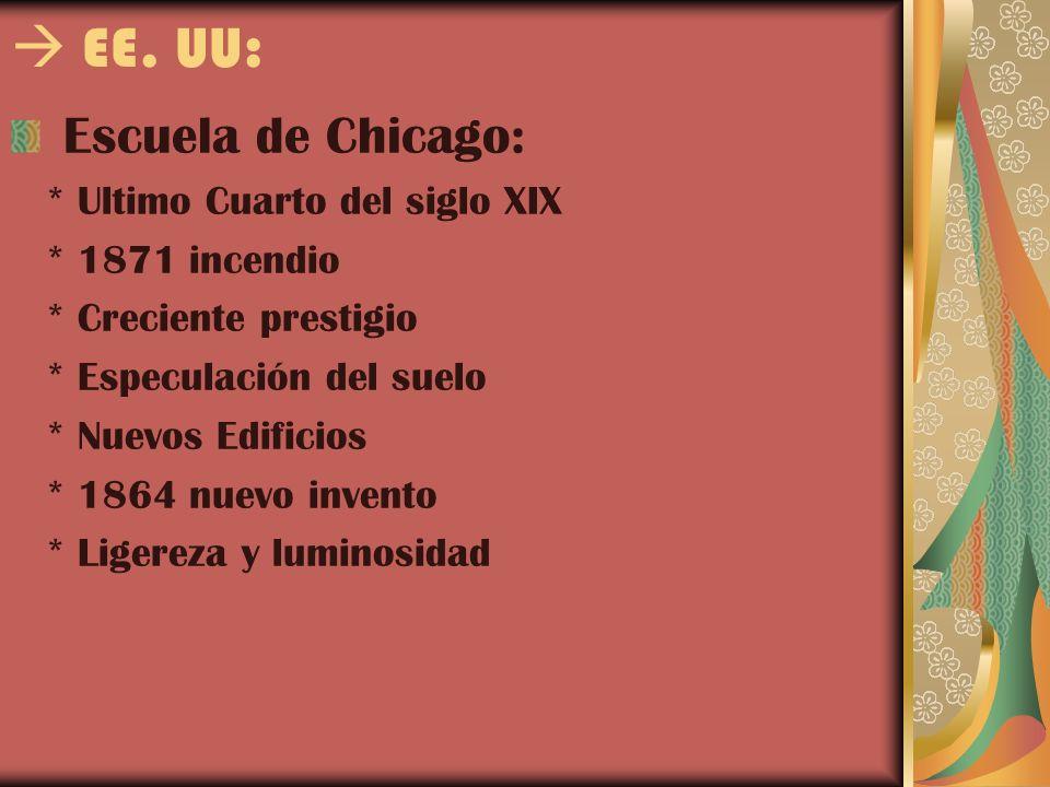  EE. UU: Escuela de Chicago: * Ultimo Cuarto del siglo XIX