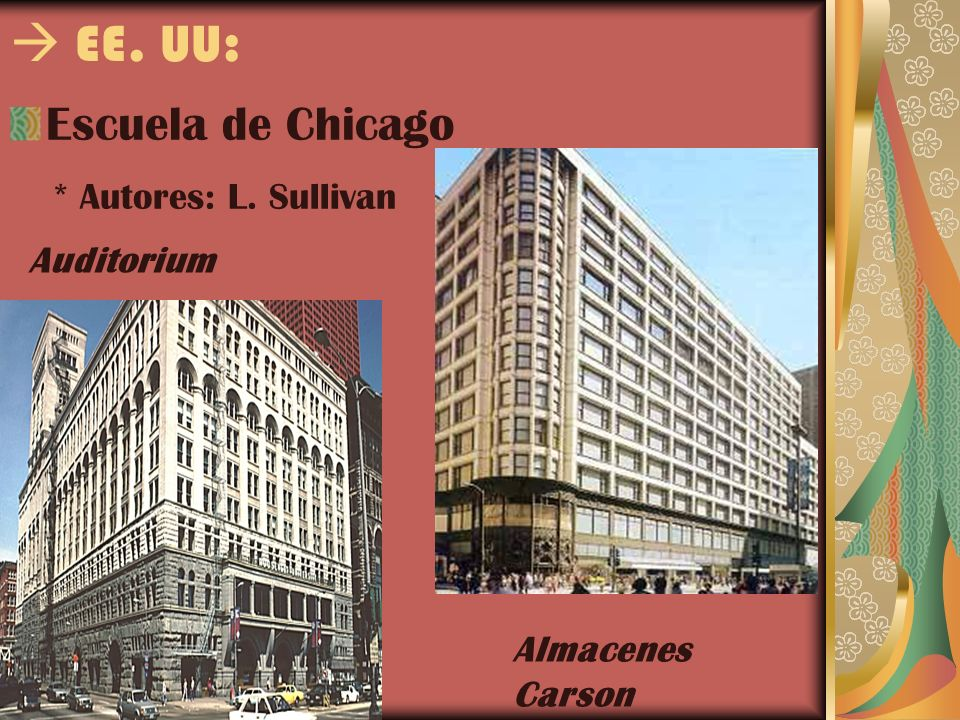  EE. UU: Escuela de Chicago * Autores: L. Sullivan Auditorium