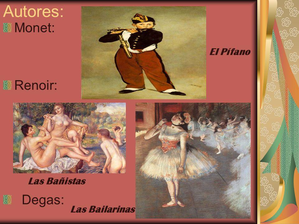 Autores: Monet: Renoir: Degas: El Pífano Las Bañistas Las Bailarinas