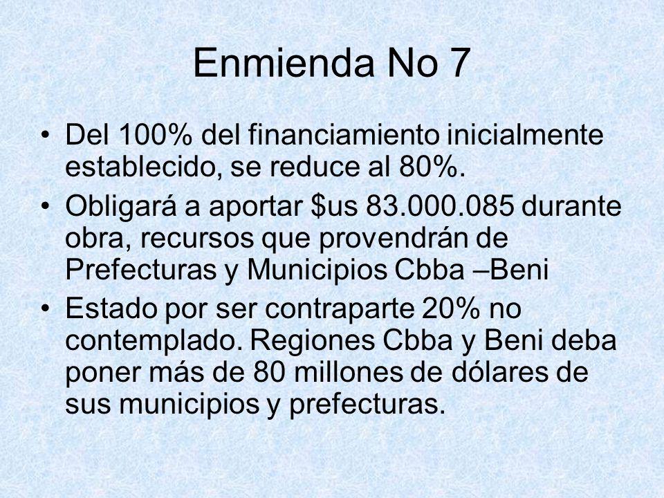 Enmienda No 7 Del 100% del financiamiento inicialmente establecido, se reduce al 80%.