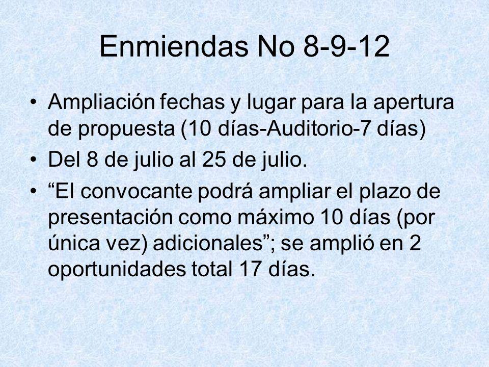 Enmiendas No 8-9-12 Ampliación fechas y lugar para la apertura de propuesta (10 días-Auditorio-7 días)