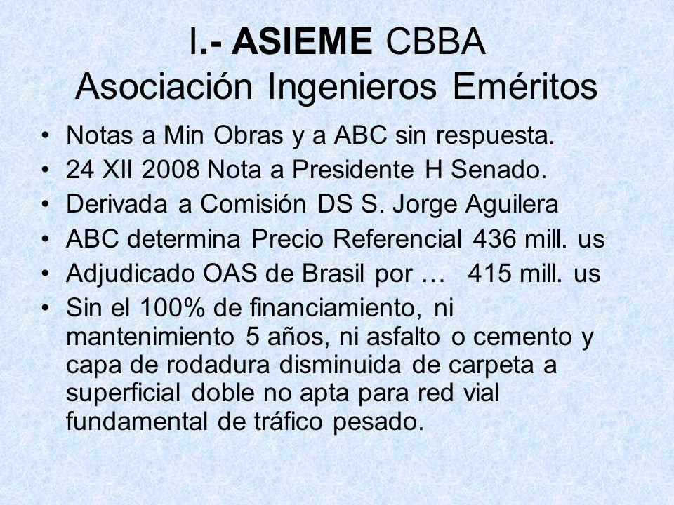 I.- ASIEME CBBA Asociación Ingenieros Eméritos
