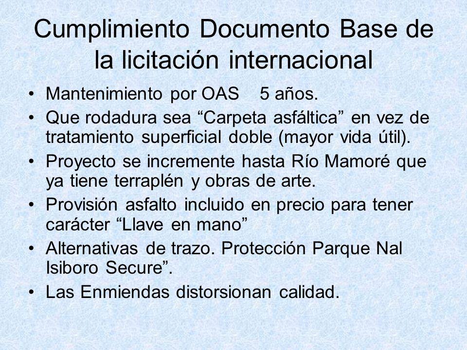 Cumplimiento Documento Base de la licitación internacional