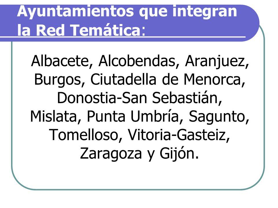 Ayuntamientos que integran la Red Temática: