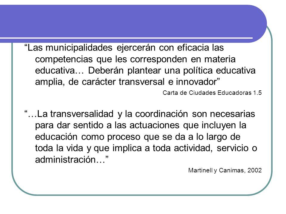 Las municipalidades ejercerán con eficacia las competencias que les corresponden en materia educativa… Deberán plantear una política educativa amplia, de carácter transversal e innovador