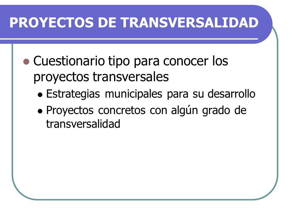 PROYECTOS DE TRANSVERSALIDAD