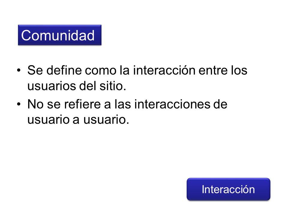 Comunidad Se define como la interacción entre los usuarios del sitio.