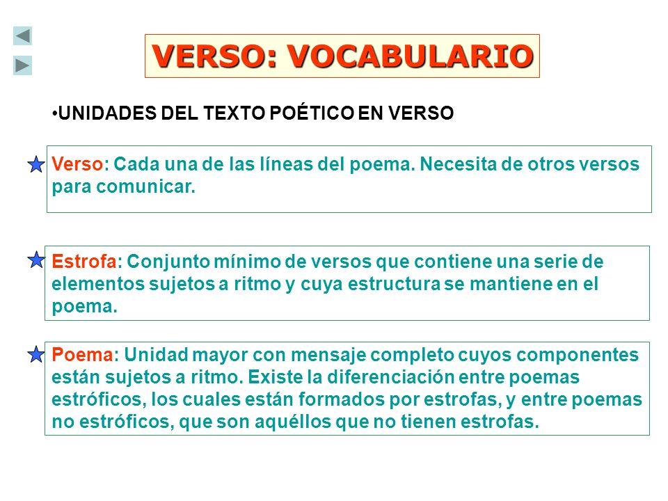 VERSO: VOCABULARIO UNIDADES DEL TEXTO POÉTICO EN VERSO
