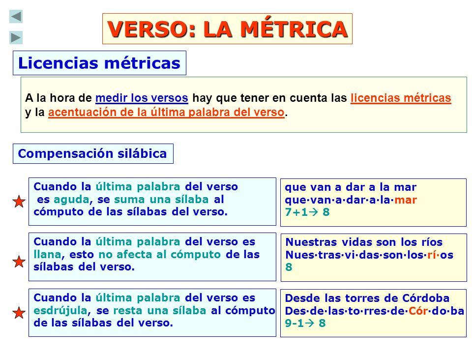 VERSO: LA MÉTRICA Licencias métricas