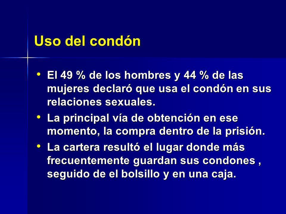 Uso del condón El 49 % de los hombres y 44 % de las mujeres declaró que usa el condón en sus relaciones sexuales.