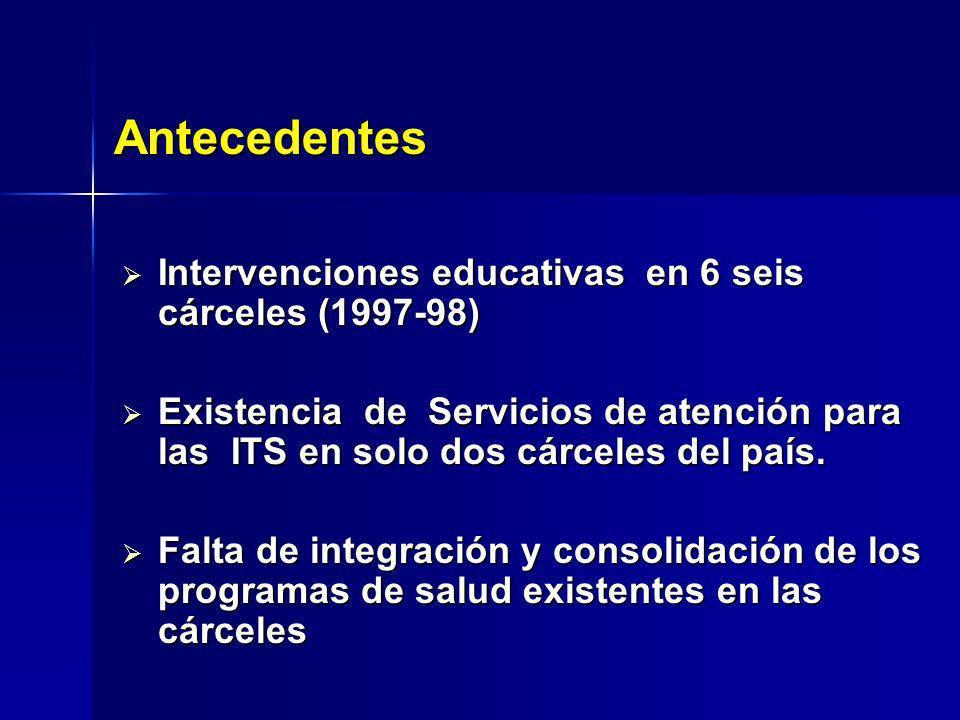 Antecedentes Intervenciones educativas en 6 seis cárceles (1997-98)