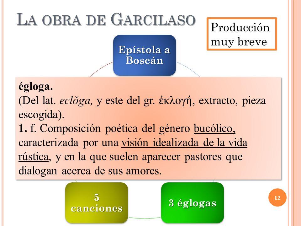 La obra de Garcilaso Producción muy breve égloga.