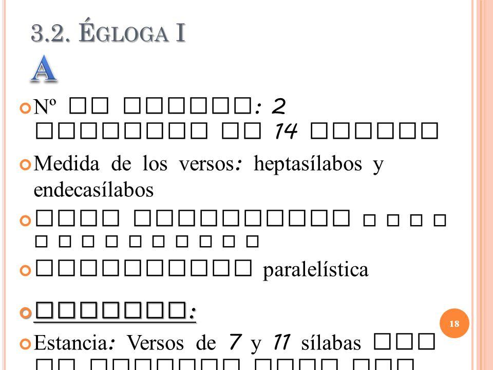 A 3.2. Égloga I Nº de versos: 2 estrofas de 14 versos