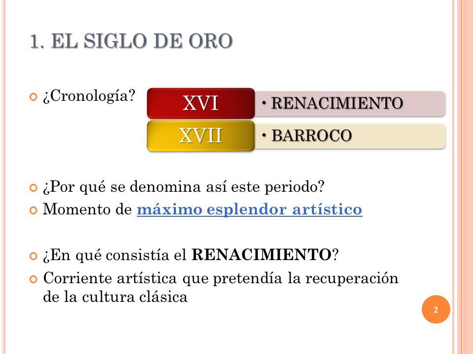 1. EL SIGLO DE ORO XVI XVII RENACIMIENTO BARROCO ¿Cronología