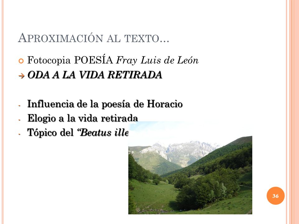 Aproximación al texto... Fotocopia POESÍA Fray Luis de León