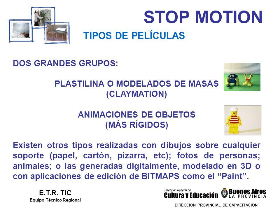 STOP MOTION TIPOS DE PELÍCULAS DOS GRANDES GRUPOS: