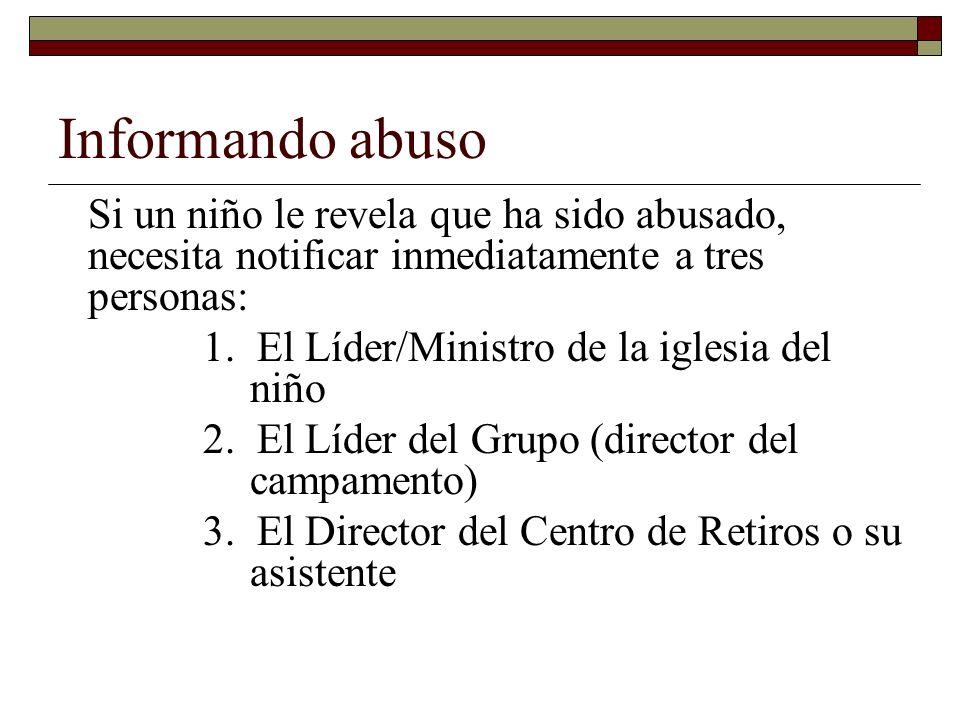Informando abuso 1. El Líder/Ministro de la iglesia del niño