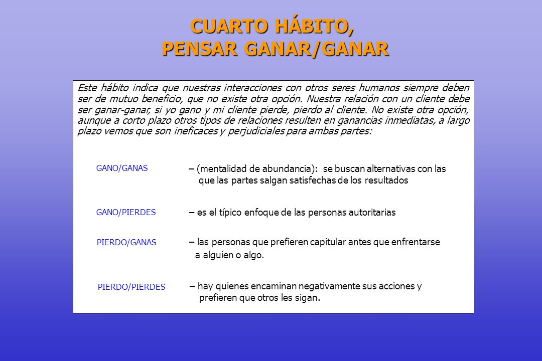 CUARTO HÁBITO, PENSAR GANAR/GANAR