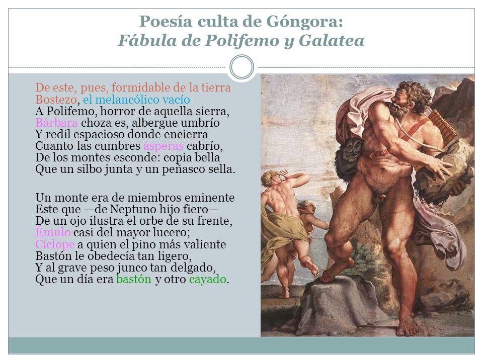 Poesía culta de Góngora: Fábula de Polifemo y Galatea