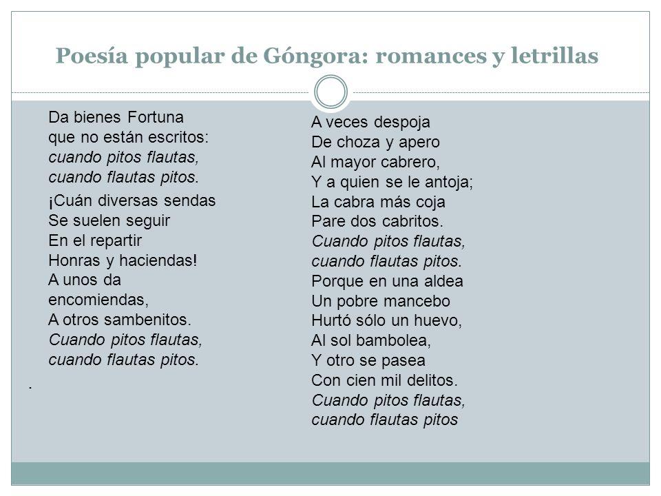 Poesía popular de Góngora: romances y letrillas