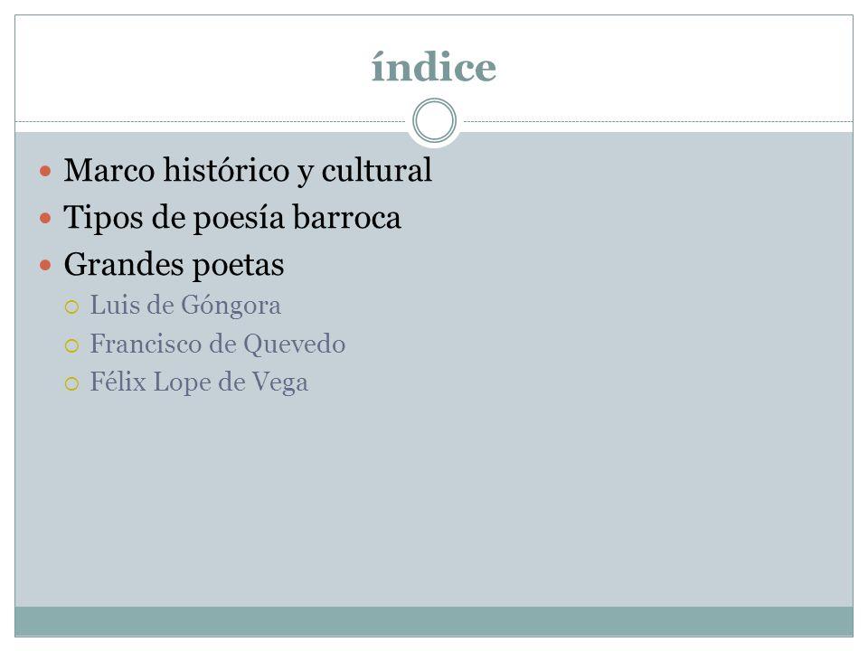 índice Marco histórico y cultural Tipos de poesía barroca