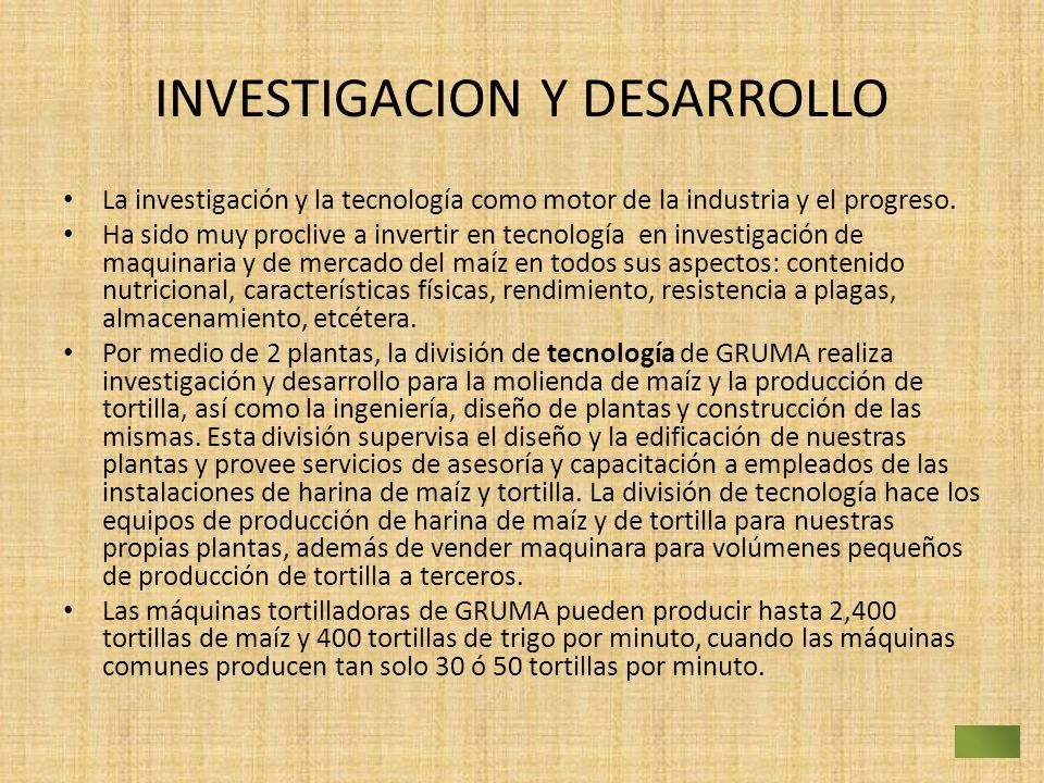 INVESTIGACION Y DESARROLLO