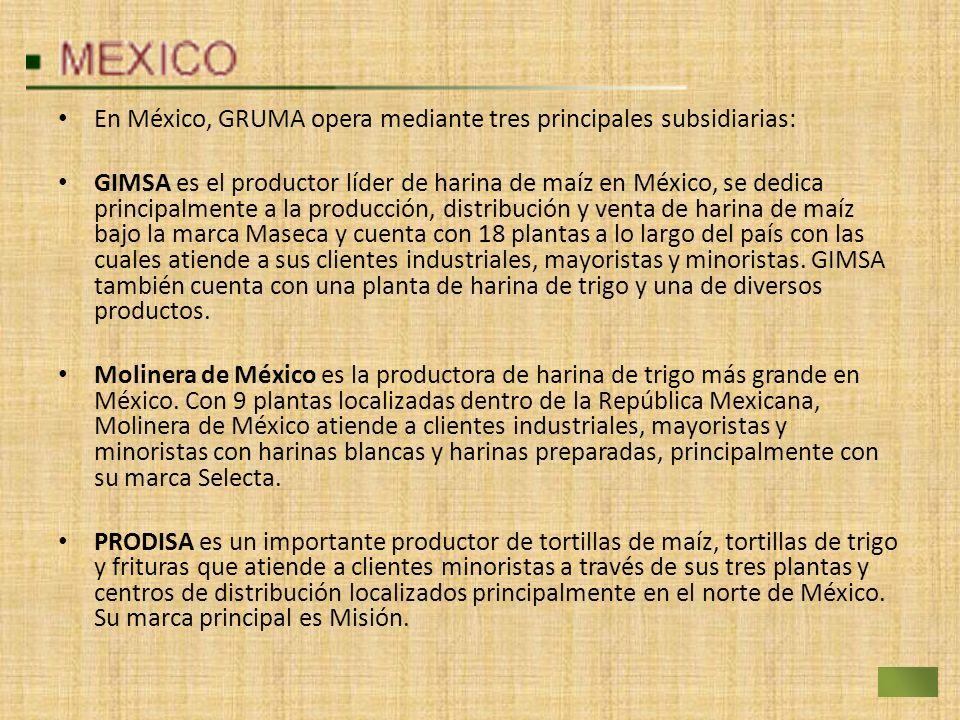 En México, GRUMA opera mediante tres principales subsidiarias:
