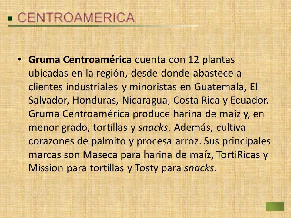 Gruma Centroamérica cuenta con 12 plantas ubicadas en la región, desde donde abastece a clientes industriales y minoristas en Guatemala, El Salvador, Honduras, Nicaragua, Costa Rica y Ecuador.