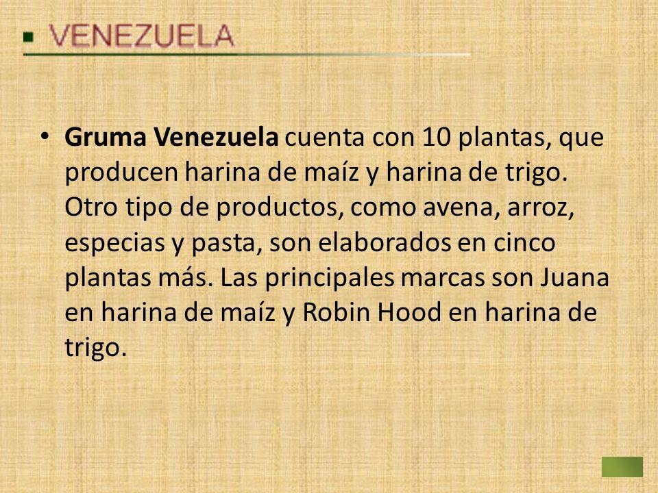 Gruma Venezuela cuenta con 10 plantas, que producen harina de maíz y harina de trigo.