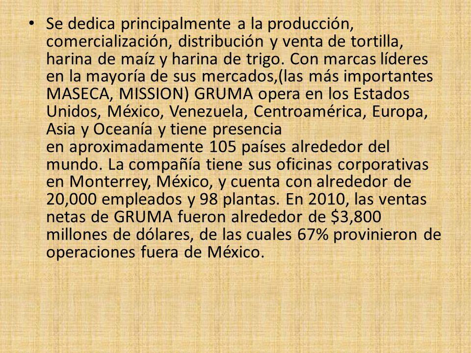 Se dedica principalmente a la producción, comercialización, distribución y venta de tortilla, harina de maíz y harina de trigo.