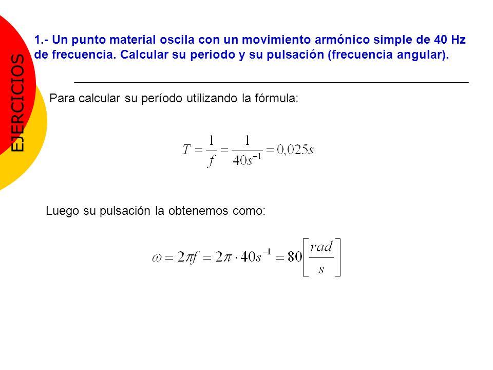 1.- Un punto material oscila con un movimiento armónico simple de 40 Hz de frecuencia. Calcular su periodo y su pulsación (frecuencia angular).