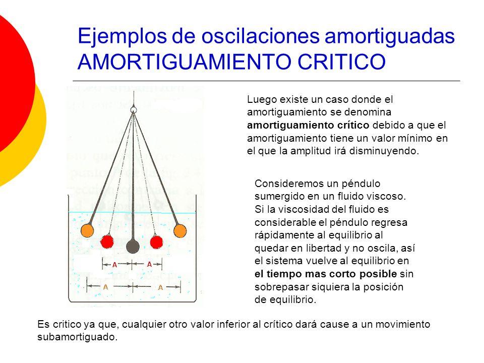 Ejemplos de oscilaciones amortiguadas AMORTIGUAMIENTO CRITICO