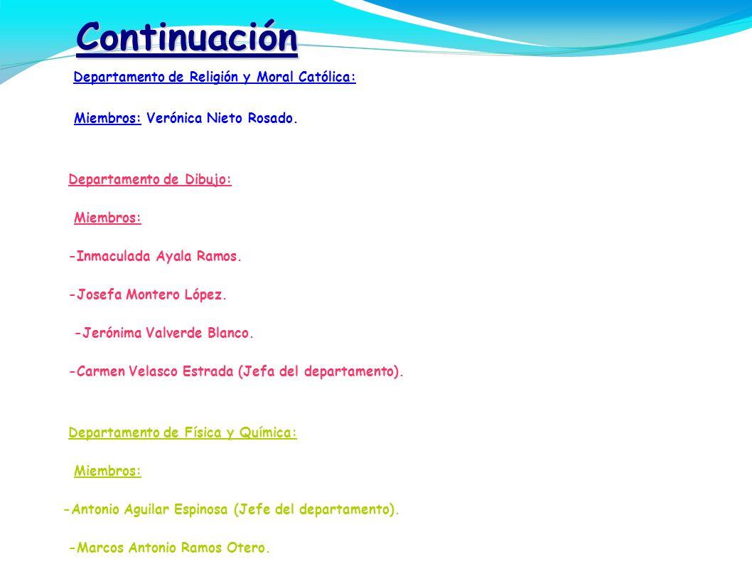 Continuación - Departamento de Religión y Moral Católica:
