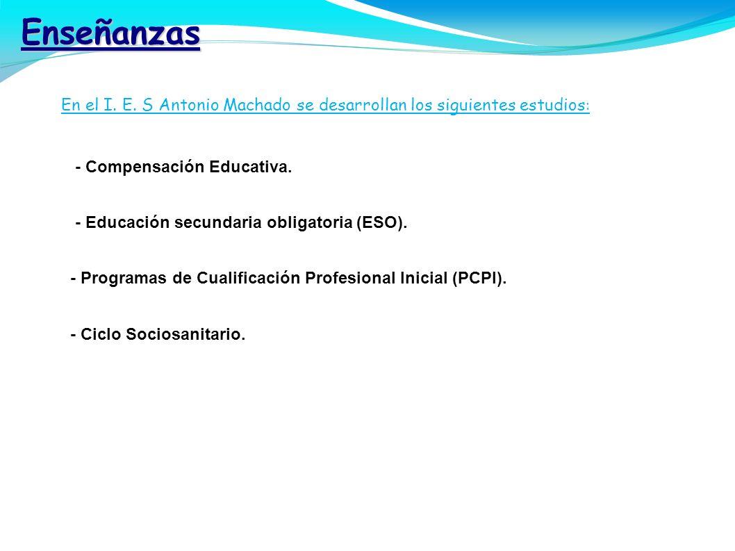 Enseñanzas E En el I. E. S Antonio Machado se desarrollan los siguientes estudios: - Compensación Educativa.