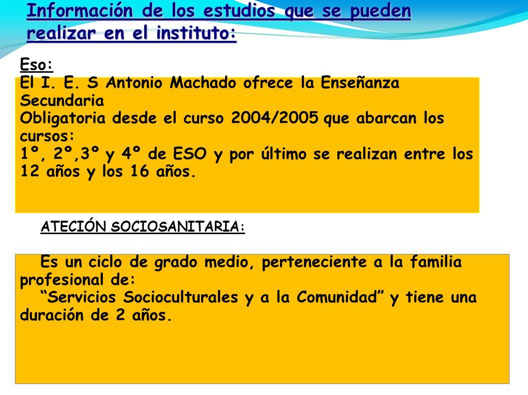Información de los estudios que se pueden realizar en el instituto: