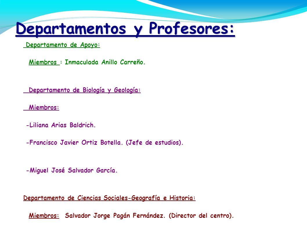 Departamentos y Profesores: