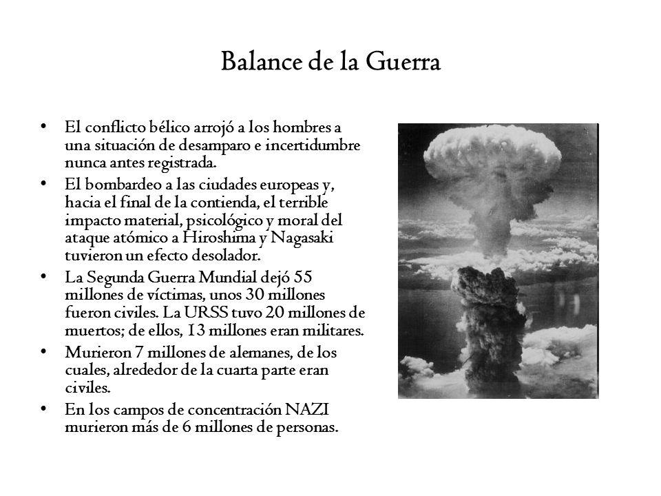 Balance de la Guerra El conflicto bélico arrojó a los hombres a una situación de desamparo e incertidumbre nunca antes registrada.
