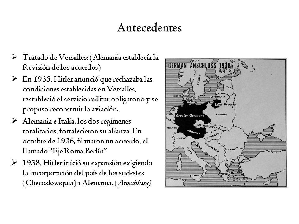 AntecedentesTratado de Versalles: (Alemania establecía la Revisión de los acuerdos)