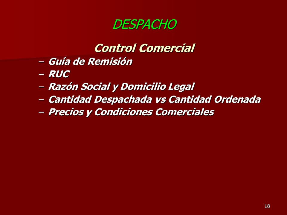 DESPACHO Control Comercial Guía de Remisión RUC