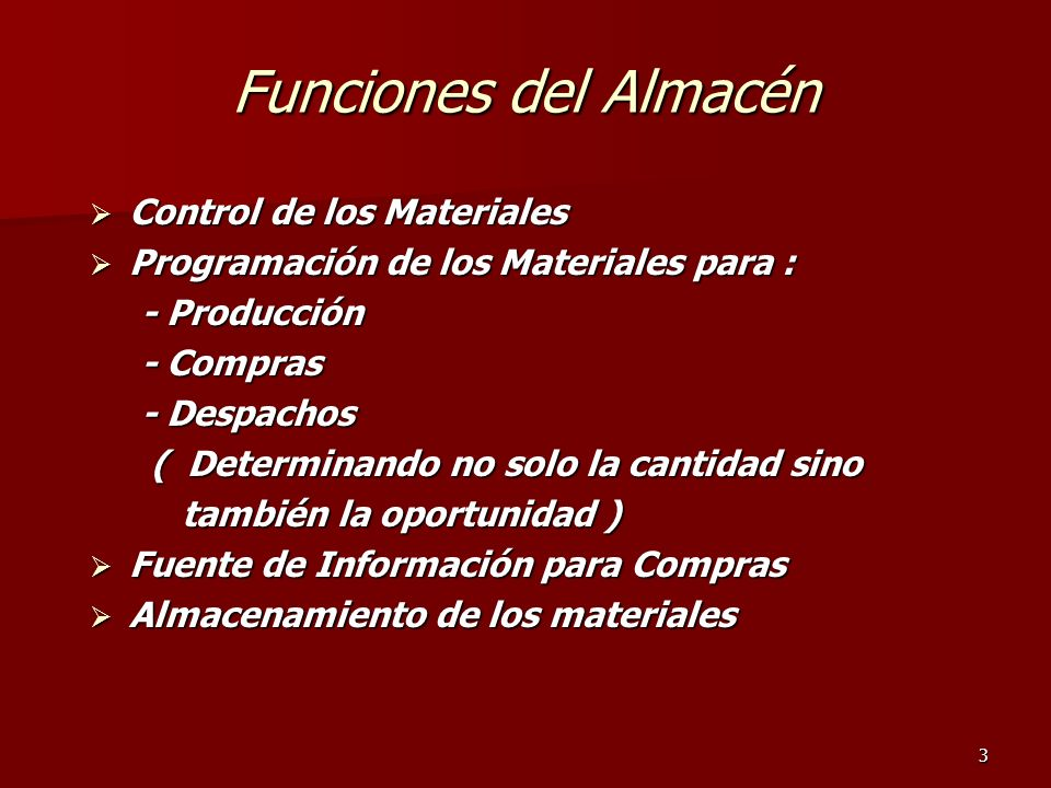 Funciones del Almacén Control de los Materiales