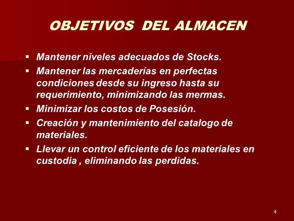 OBJETIVOS DEL ALMACEN Mantener niveles adecuados de Stocks.