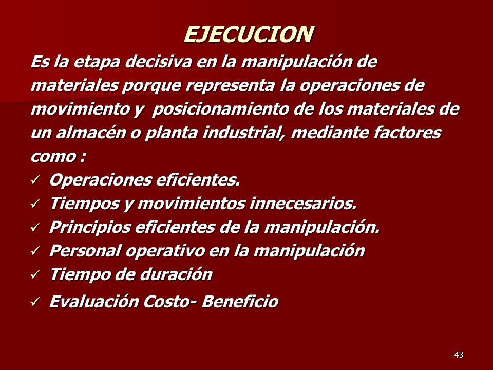 EJECUCION Es la etapa decisiva en la manipulación de