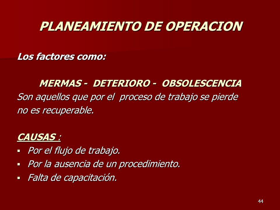 PLANEAMIENTO DE OPERACION