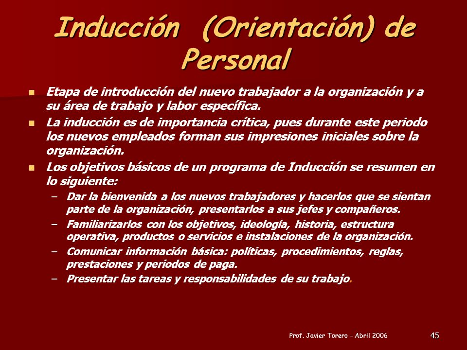Inducción (Orientación) de Personal