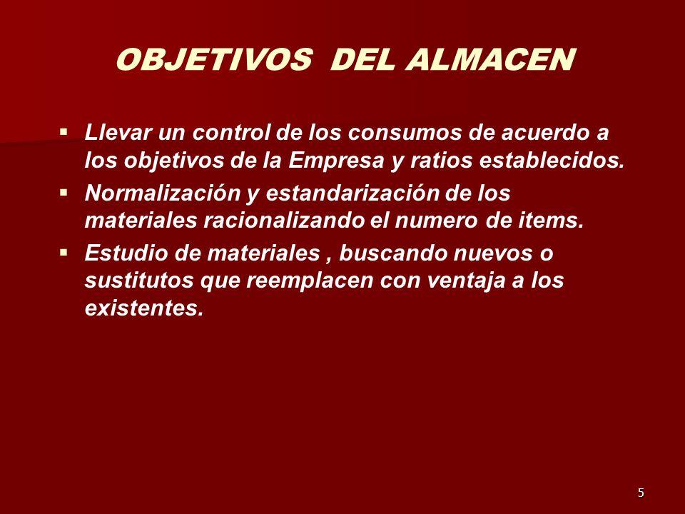 OBJETIVOS DEL ALMACEN Llevar un control de los consumos de acuerdo a los objetivos de la Empresa y ratios establecidos.